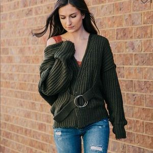 Mustard Seed Slouchy Belted Cardigan Sweater